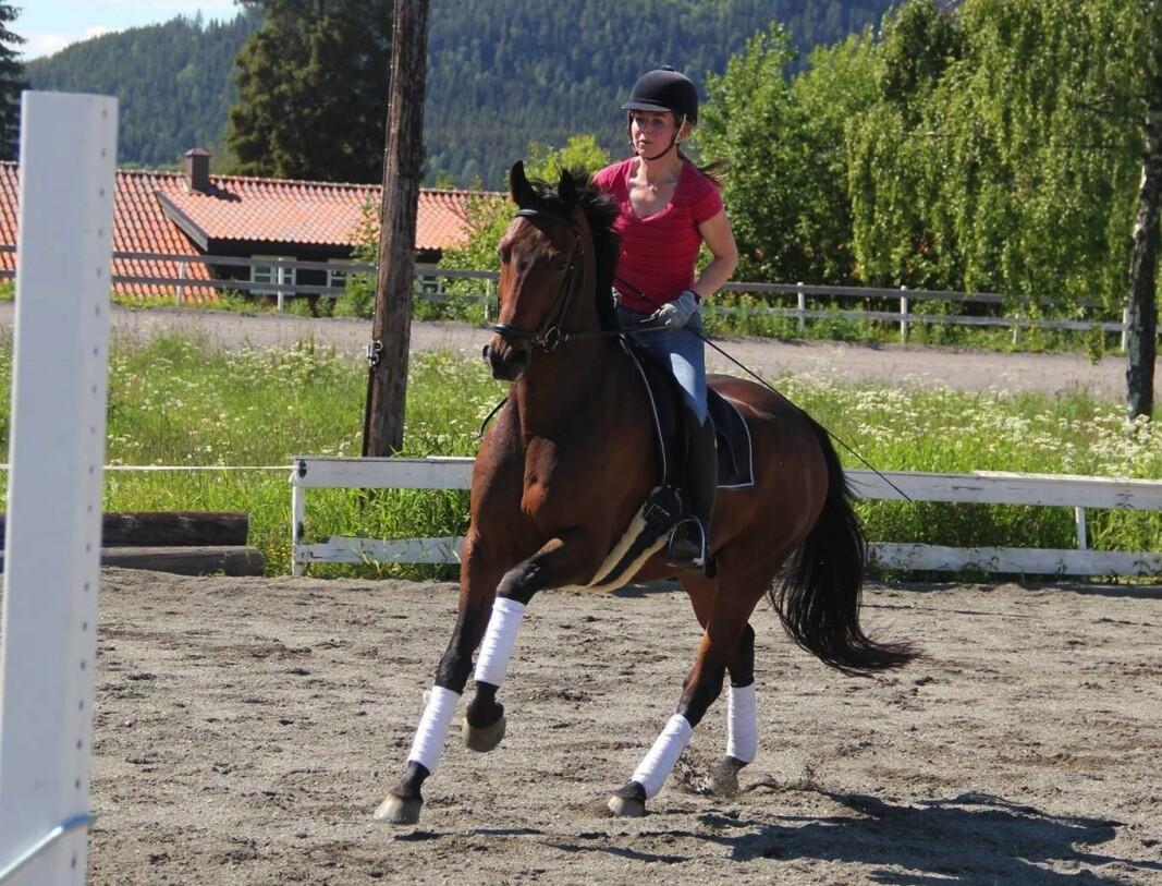 Generaladvokaten på hesteryggen. På vinteren rir hun med Forsvarets feltstøvler – med Forsvarets ullsokker i.