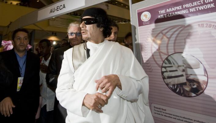 DIKTATOR: LLibyas mangeårige leder Muammar Gaddafi under et besøk i Addis Abeba i 2010.