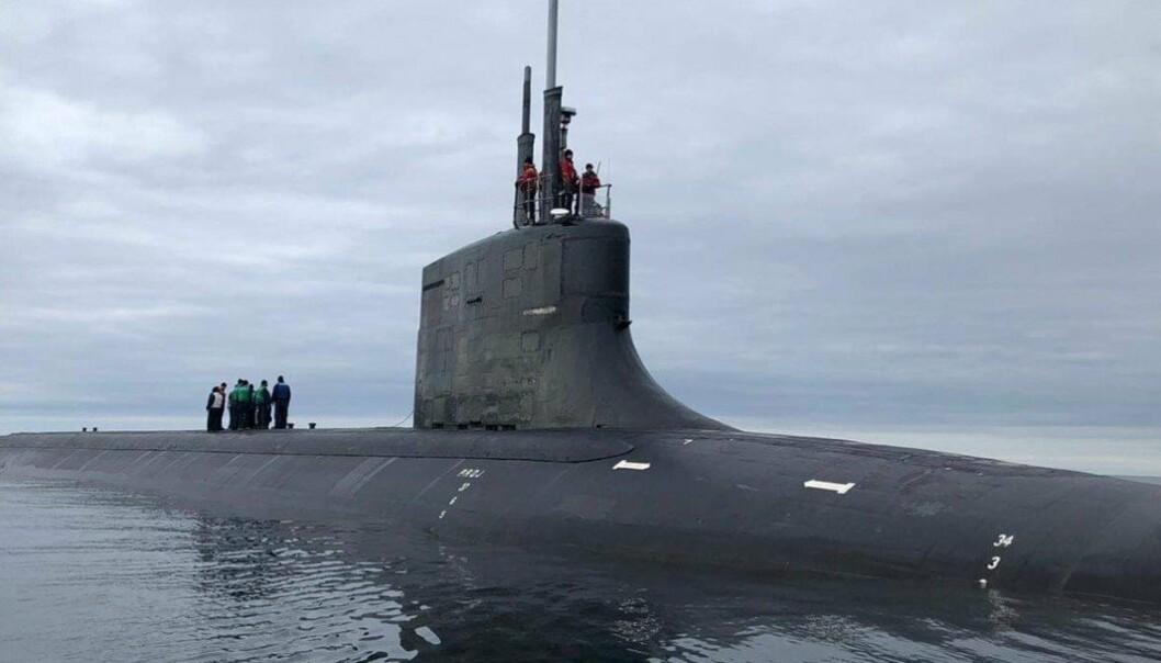 Ubåten USS Seawolf utenfor Tromsø i august.