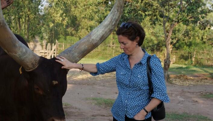 NY BOK: Forfatter Michela Wrong hilser på kyrne ved det kongelige palasset i Nyanza i Rwanda.