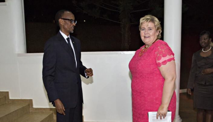 I RWANDA: Erna Solberg møtte Paul Kagame i Kigali i 2014, et halvt år etter at Karegeya ble drept.