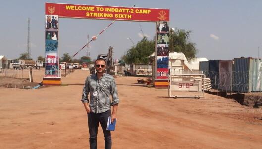 Utenfor porten til den indiske bataljonen i UNMISS, Sør-Sudan.