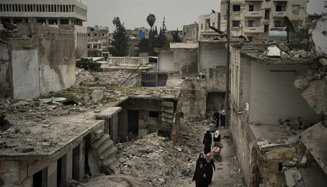 ØDELAGT:Ifølge FN er behovet for nødhjelp i Syria rekordstort. Her fra et ødelagt nabolag i Idlib-provinsen.