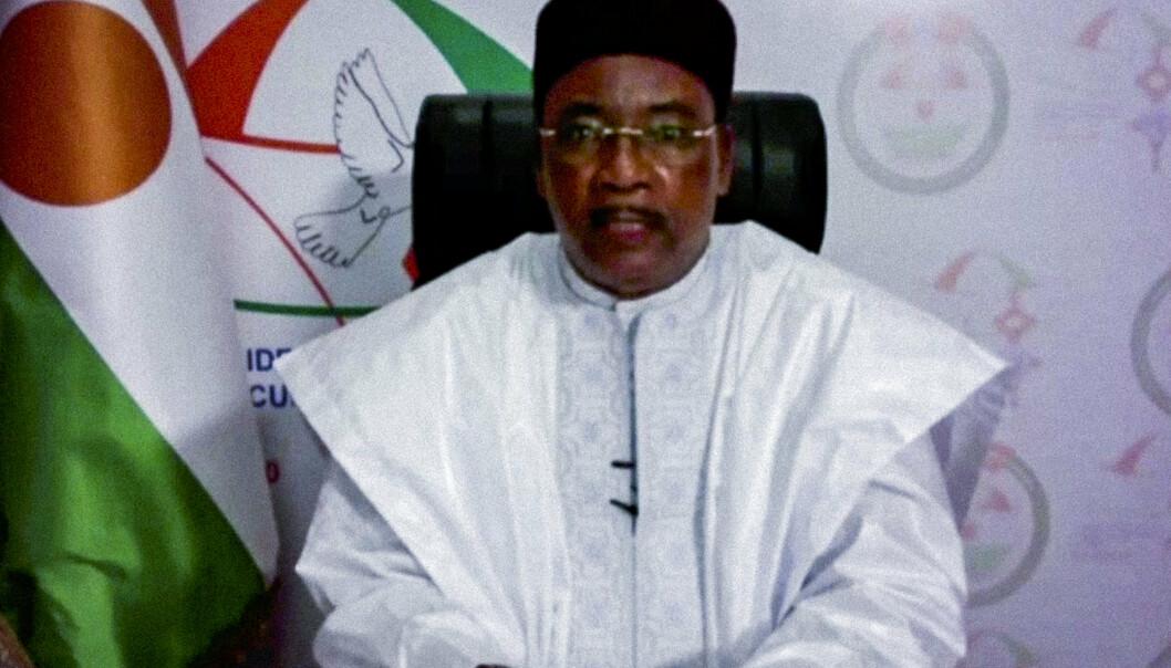 PRESIDENT I NIGER: Mahamadou Issoufou avbildet under et virtuelt event i fjor høst.
