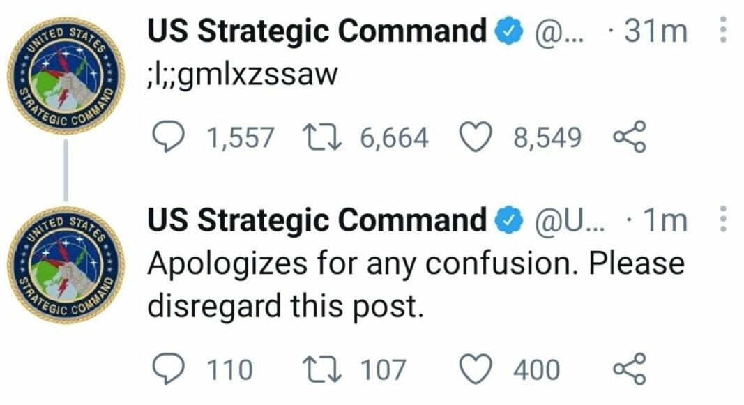 KRYPTISK MELDING: Mange Twitter-brukere klødde seg i hodet over meldingen som kom fra det amerikanske forsvaret.