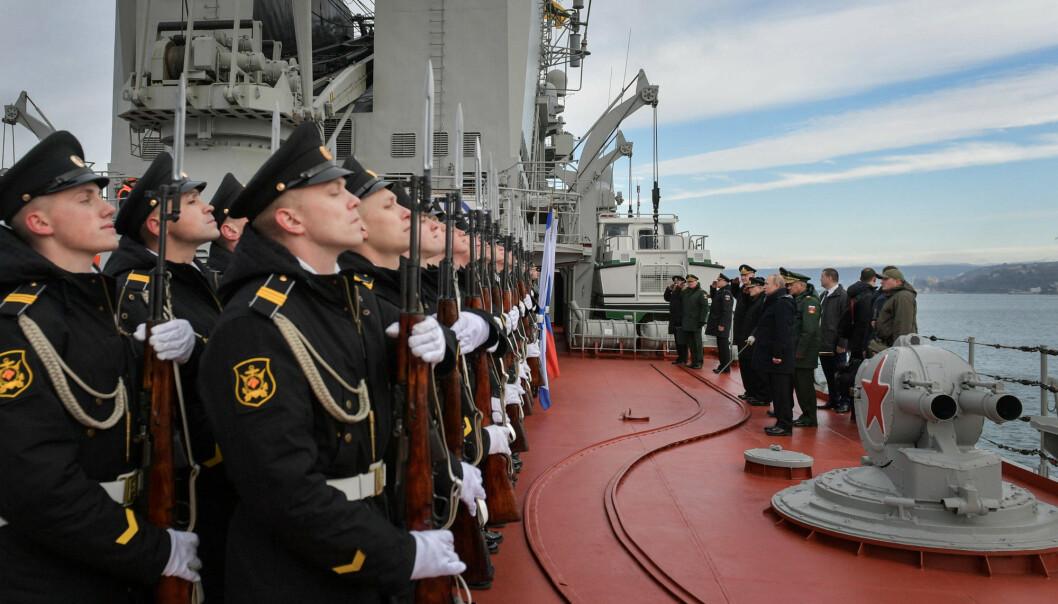 Russlands president Vladimir Putin besøker en øvelse med Nordflåten og Svartehavsflåten om bord i marinefartøyet «Marskalk Ustinov» i Sevastopol havn på Krim 9. januar 2020.