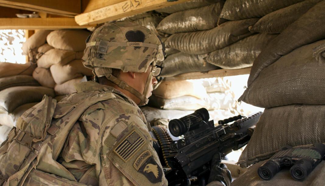 Dette arkivbildet fra 2016 viser en amerikansk soldat ved Camp Swift, nord i Irak.
