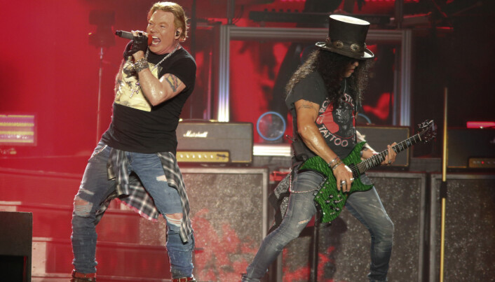 CIVIL WAR: Axl Rose, og Slash i Guns N' Roses' under en konsert i 2019.