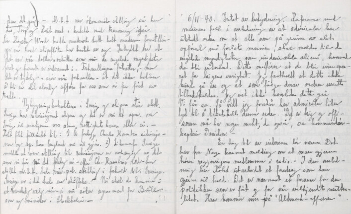 DAGBOK: Dette skrev justisminister Terje Wold 6. november 1940.
