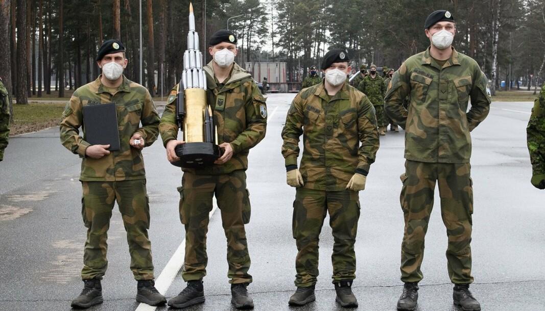 NATO-KONKURRANSE: Norske soldater fra Panserbataljonen etter at de gikk til topp i konkurransen Iron Spear i Latvia.