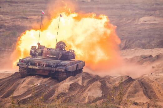 INTERNASJONALT: En polsk T-72 stridsvogn under Iron Spear 2019.