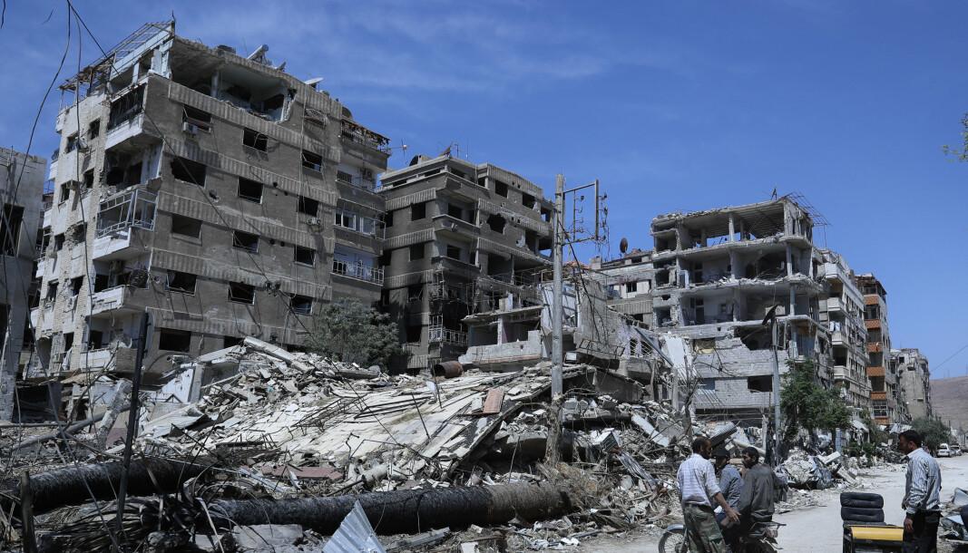 KJEMISKE VÅPEN: En utbombet bygning i den syriske byen Douma, hvor man mistenker at det ble brukt kjemiske våpen i 2018.