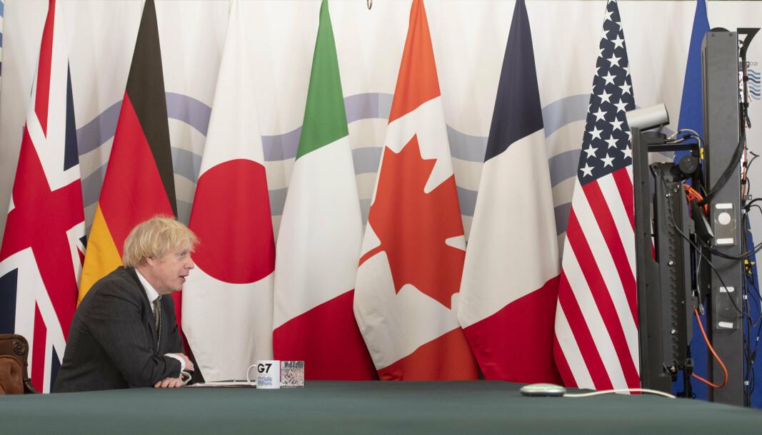 MØTE: Utenriksministrene i G7 står bak uttalelesen. Avbildet ser du Storbritannias statsminister Boris Johnson i et G7-møte 19. februar.