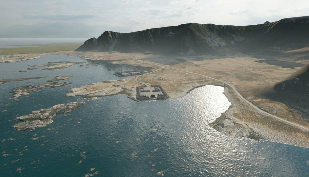 OPPSKYTINGSBASE: Denne illustrasjonen viser den planlagte rakettoppskytingsbasen på Andøya.S