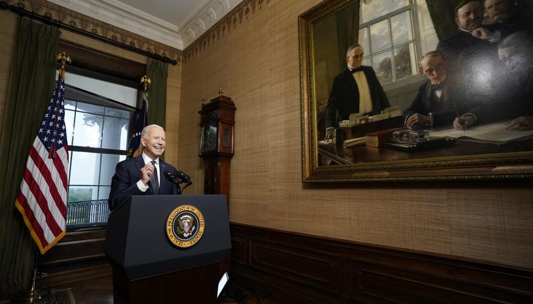 UTTREKKING: Joe Biden taler til folket fra rommet kjent som Treaty Room i Det hvite hus, samme talerstol George W. Bush sto ved da han kunngjorde angrepet mot Afghanistan i 2001.