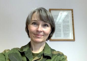 Marianne Døhl i Luftforsvarsstaben synes tørre sokker på øvelse er luksus