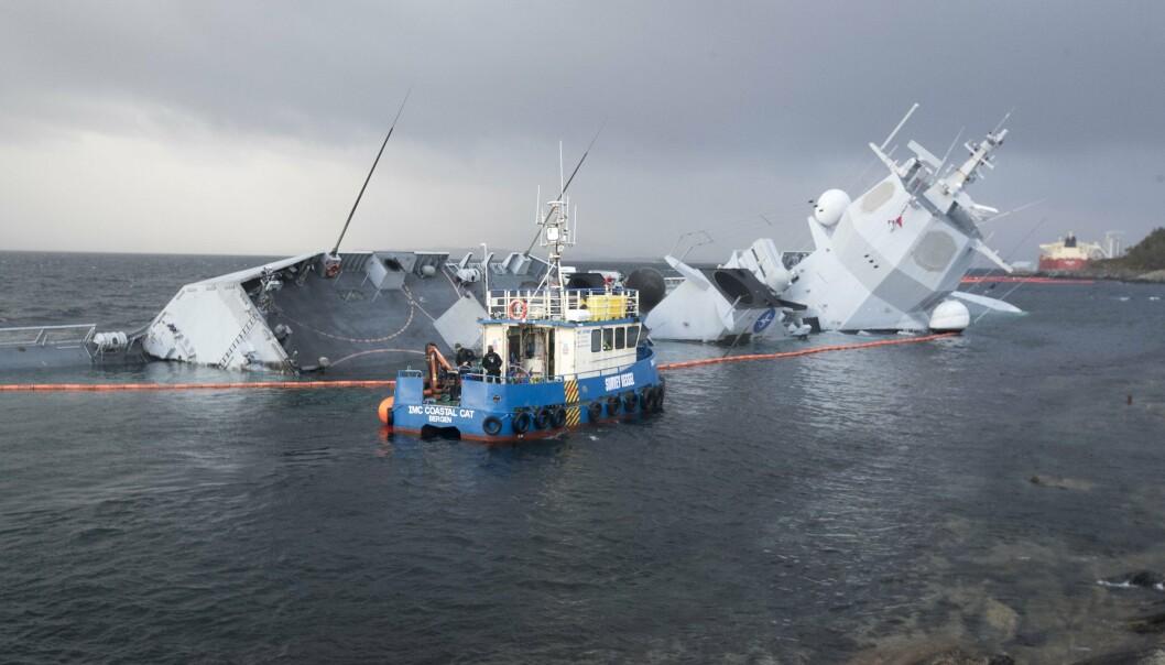 FORLISTE: «Helge Ingstad» forliste i 2018, etter en kollisjon med tankskipet «Sola TS».