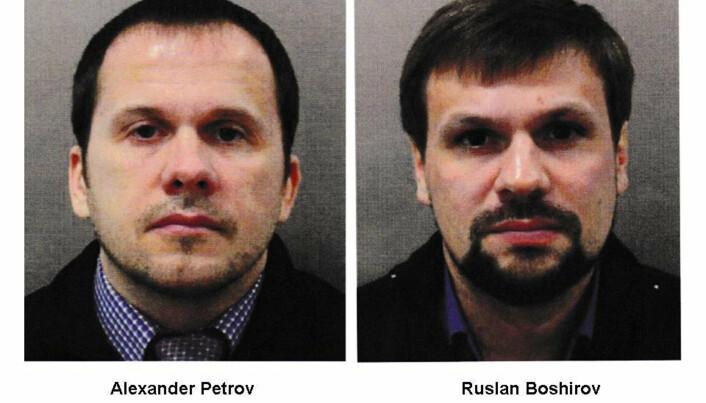 MISTENKTE: Tsjekkisk politi knytter to russiske menn som brukte pass med navnene Aleksander Petrov og Ruslan Bosjirov, til eksplosjoner ved et ammunisjonslager i 2014. De to mistenkes i Storbritannia for å ha utført attentatet mot Sergej og Julia Skripal i 2018.