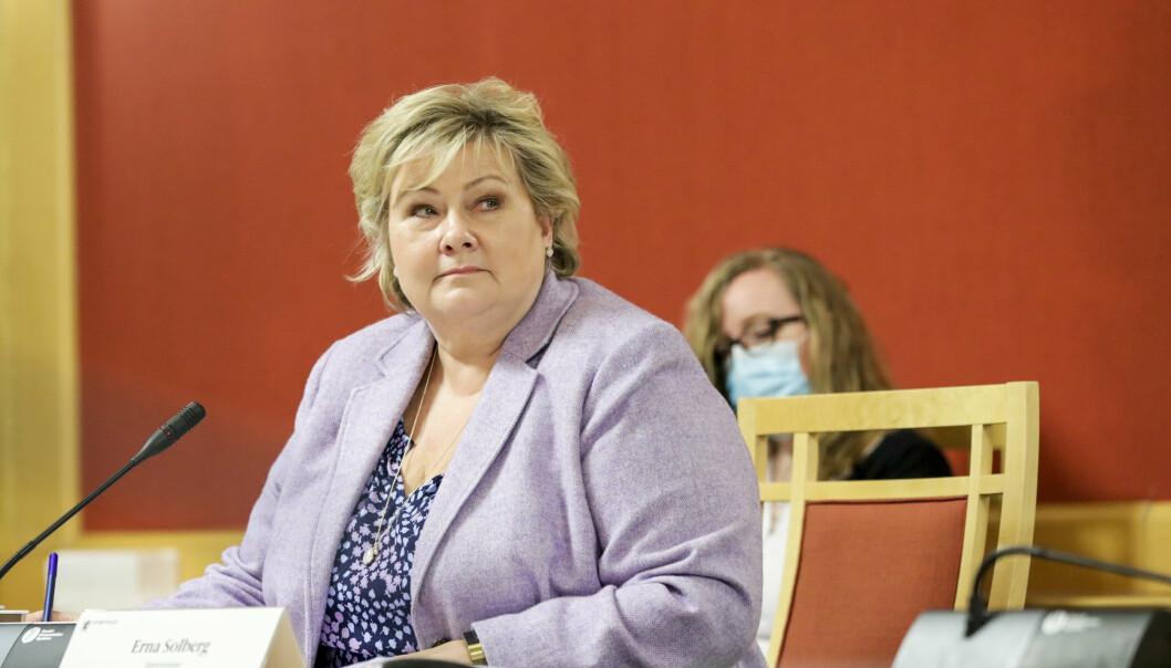 HØRING: Statsminister Erna Solberg var mandag kalt inn til høring i utenriks- og forsvarskomiteen på Stortinget i forbindelse med Bergen Engines-saken