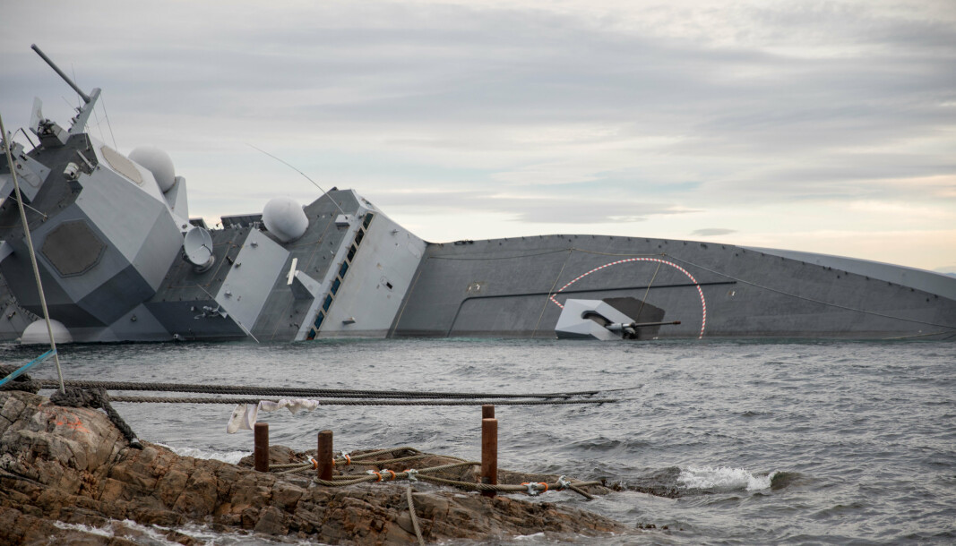 FORLISTE: Fregatten Helge Ingstad forliste etter å ha kollidert med tankskipet TS Sola i 2018.