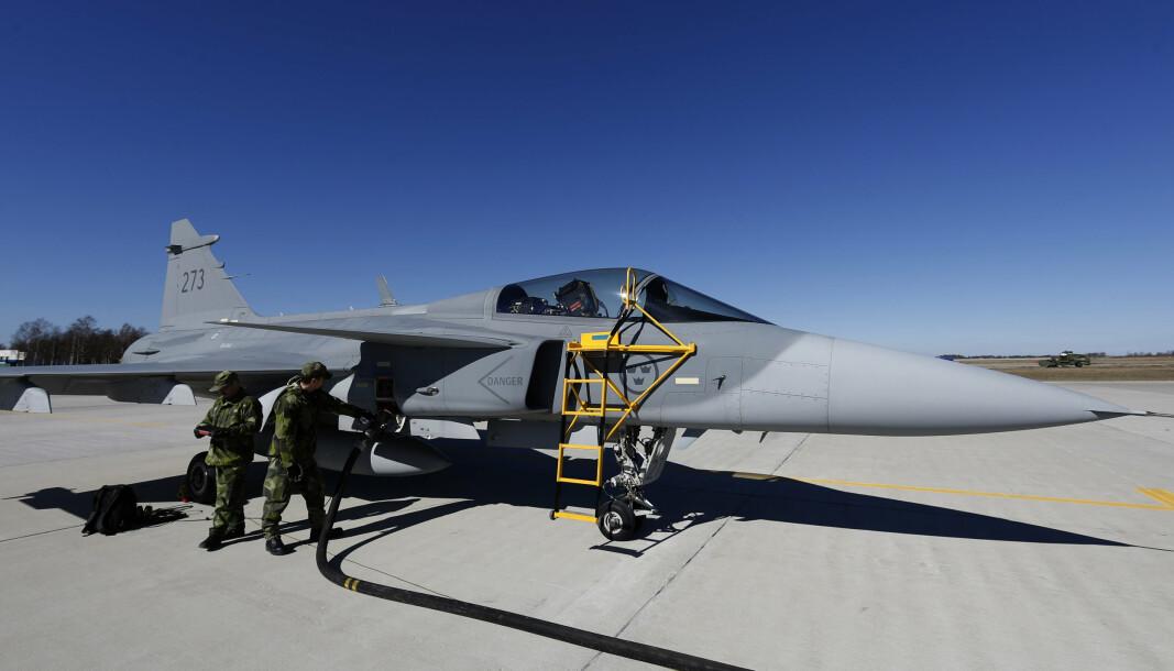 NATO-ØVELSE: Et svensk JAS-39 Gripen jagerfly på en Nato-øvelse i 2014.
