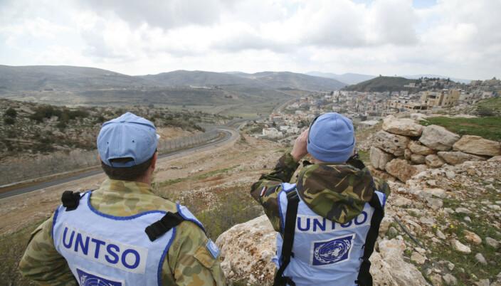 UNTSO: Kristin Lund var leder for United Nations Truce Supervision (UNTSO) fra 2017 til 2019. Her er to FN-observatører på Golan-høyden.