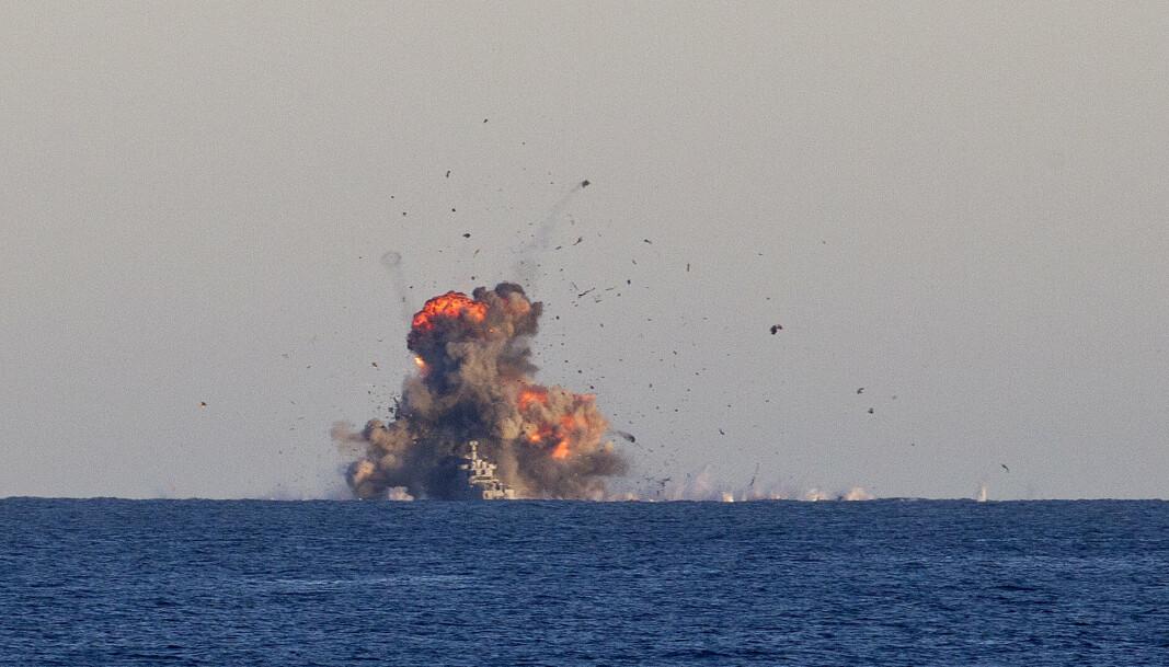FULLTREFFER: Skarpskyting med Naval Strike Missile utenfor Andøya.
