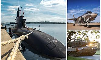 Slik er Forsvarets investeringsplan fordelt på forsvarsdomenene