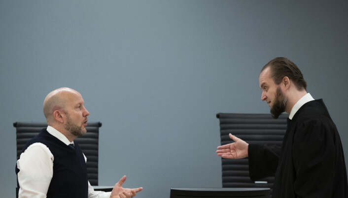 I RETTEN: Forsvarer Nils Christian Nordhus (t.h.) og aktor Geir Evanger under rettssaken som gikk i Oslo tingrett i mars.