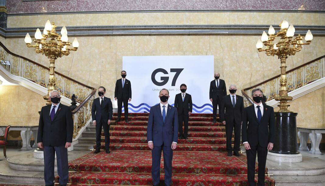 MØTES FYSISK: Representantene for G7-landene møtes fysisk, men må ta forhåndsregler knyttet til smittevern.