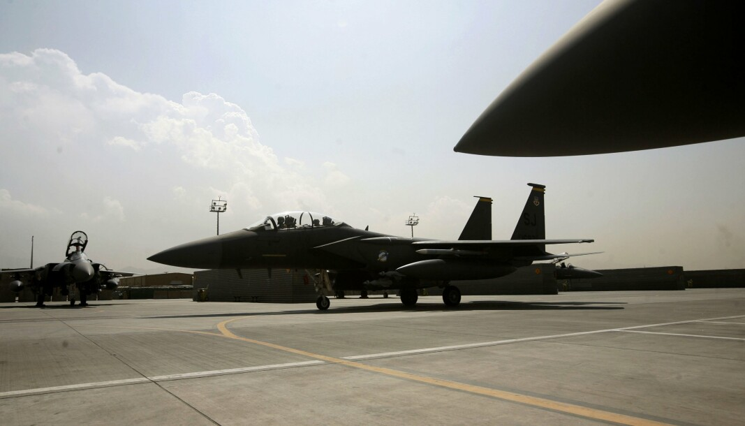 LUFTSTØTTE: Et F-15E Strike Eagle jagerfly fra den amerikanske forsvaret i Bagram, Afghanistan.