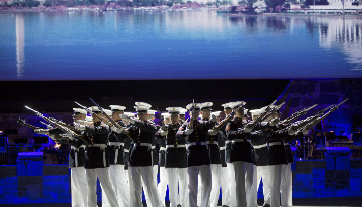 INTERNASJONALT: The United States Marine Corps Silent Drill Platoon under Norsk militær tattoo 2018.