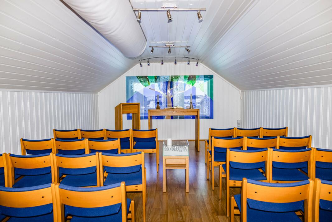 SAMLINGSROM: Kapellet i andre etasje av velferdbygget brukes vanligvis til større arrangementer. Under pandemien har dette utgått for soldatene.