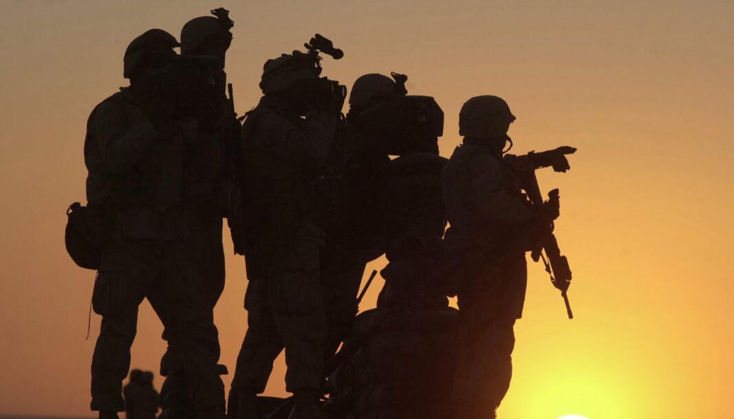 KANDAHAR: Amerikanske soldater på den amerikanske basen ved Kandahar flyplass.