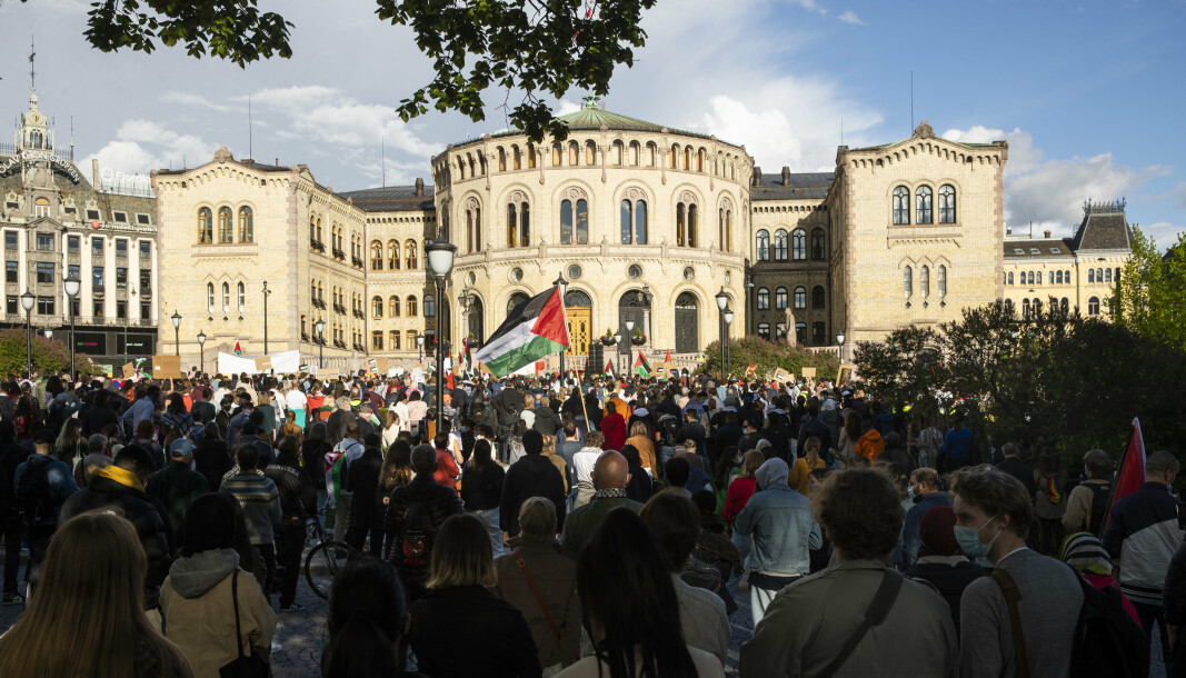 DEMONSTRASJON: Onsdag demonstrerte flere tusen mot de pågående angrepene mot palestinere i Gaza.