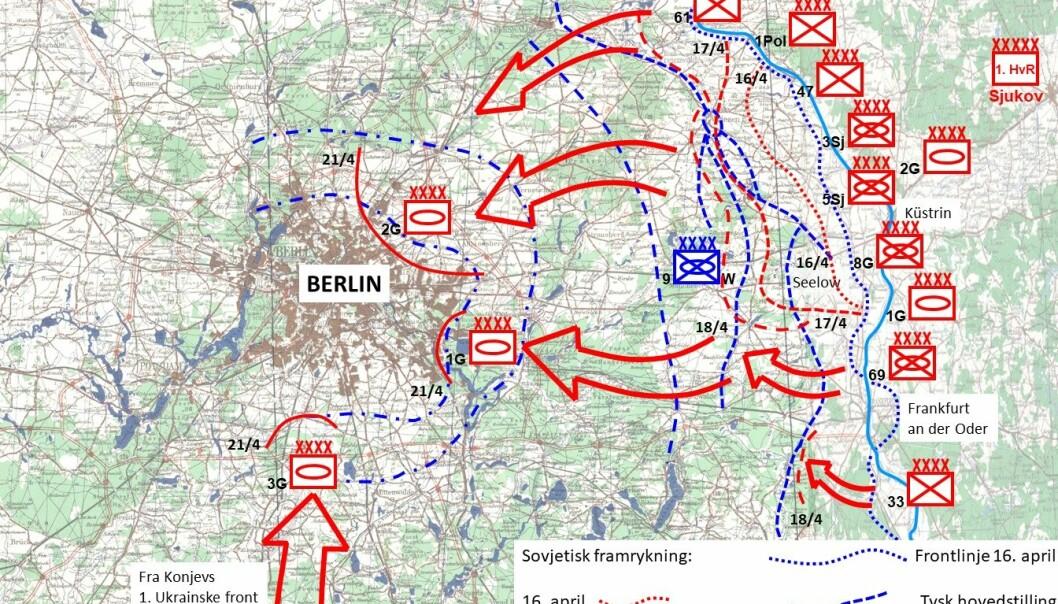 SEELOW-HØYDENE: Kart over Seelow-høydene og den sovjetiske fremrykkingen mot Berlin i aprildagene 1945.