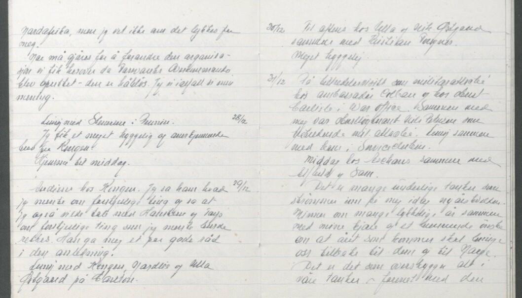 DAGBOK: Faksimile fra Oscars Strugstads dagbok 27.12.1942 .