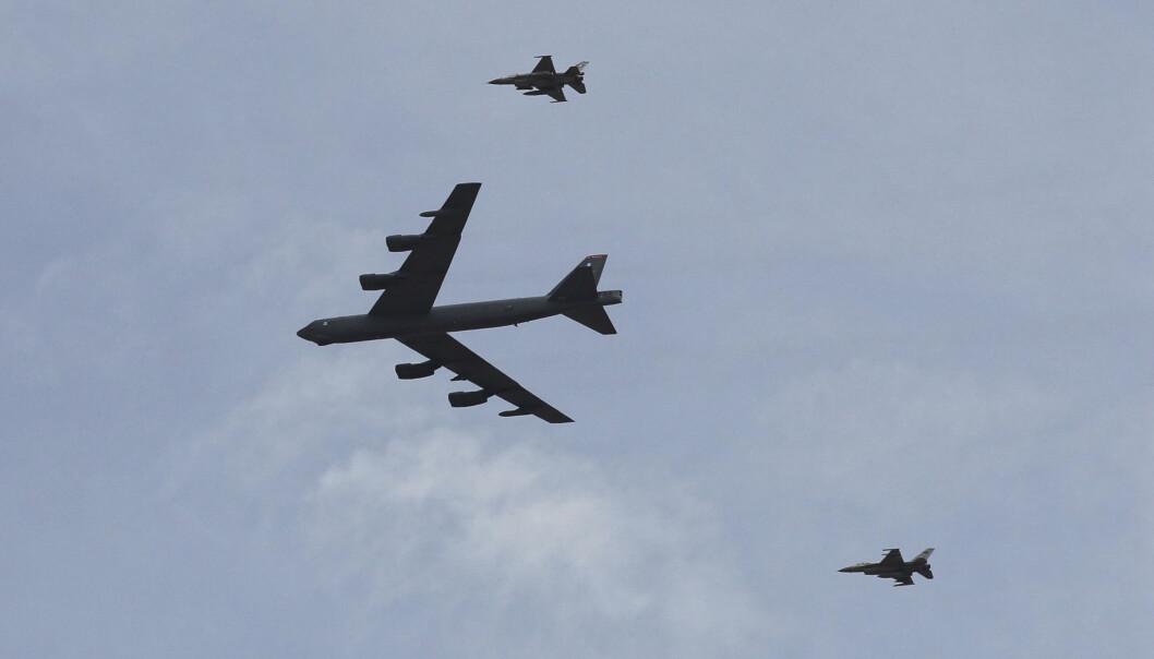 OVERFLYVNING: B-52-flyene kommer fra Moron-basen i Spania, og skal fly over alle 30 Nato-land på én dag.