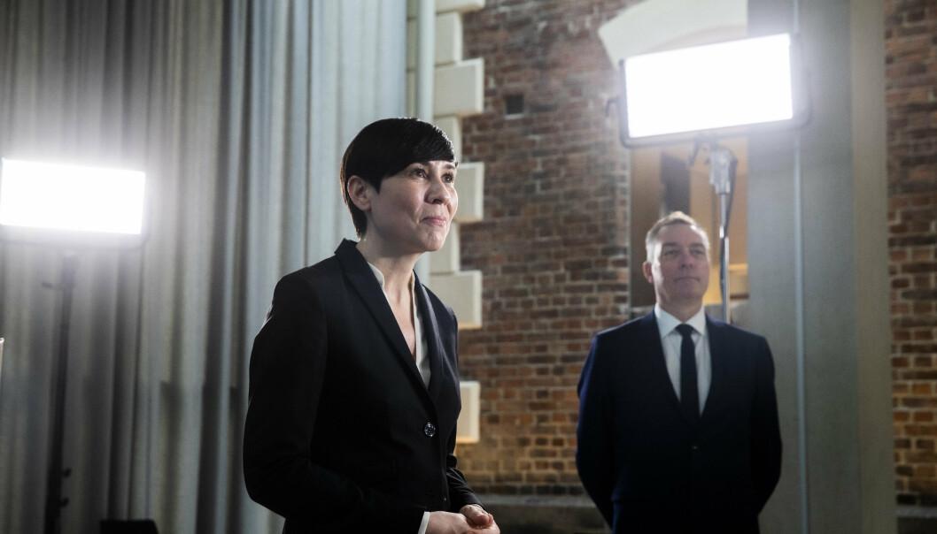 AVTALE: Utenriksminister Ine Eriksen Søreide og forsvarsminiser Frank Bakke-Jensen presenterte forsvarsavtalen mellom USA og Norge 16. april.