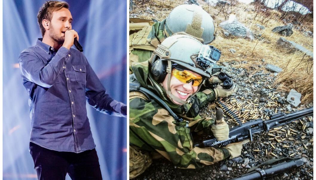 SANGER: HV-soldaten Erlend Gunstveit vant «The Voice». Til venstre er han på scenen under konkurransen, og til høyre under tiden ved Heimevernets befalsskole på Porsangermoen våren 2015.