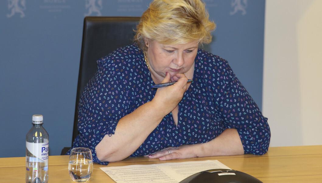 SPIONASJESAK: Statsminister Erna Solberg (H) innkalte torsdag USAs ambassadør i den såkalte spionasjesaken.