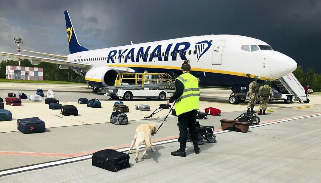 TVUNGET NED: Ryanair-flyet som ble tvunget ned der aktivisten Roman Protasevitsj var om bord.