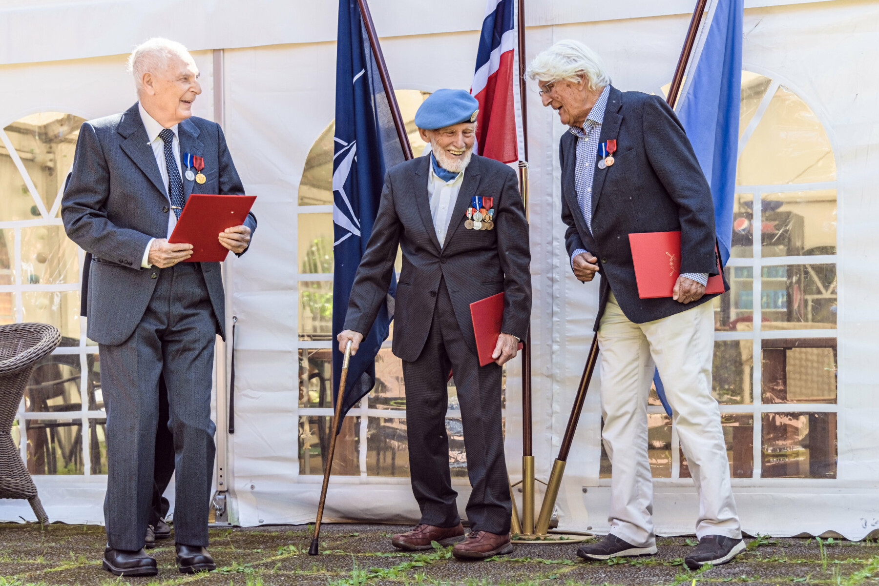 Tor Anton Johannessen, Arne Johan Eliassen og John Jakob Texmon mottok sine medaljer onsdag denne uken.