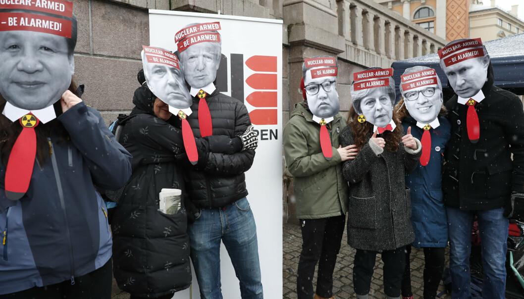 DEMONSTRERER: En ICAN-demonstrasjon utenfor Stortinget i 2019