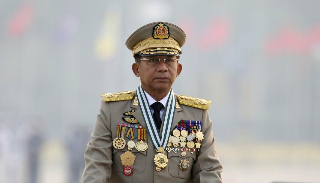 OPPRØRERE: Militærjuntaen i Myanmar, under ledelse av kuppgeneralen Min Aung Hlaing, har satt i verk en offensiv mot påståtte opprørere øst i landet.