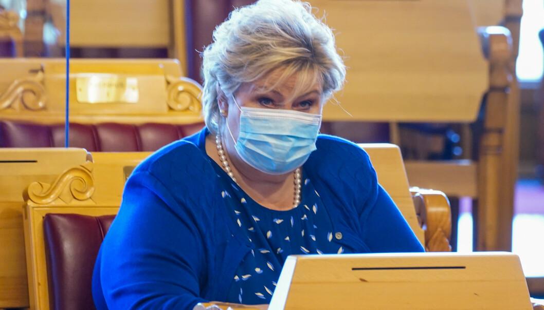 STATSMINISTER: Erna Solberg (H) var på plass i Stortinget onsdag