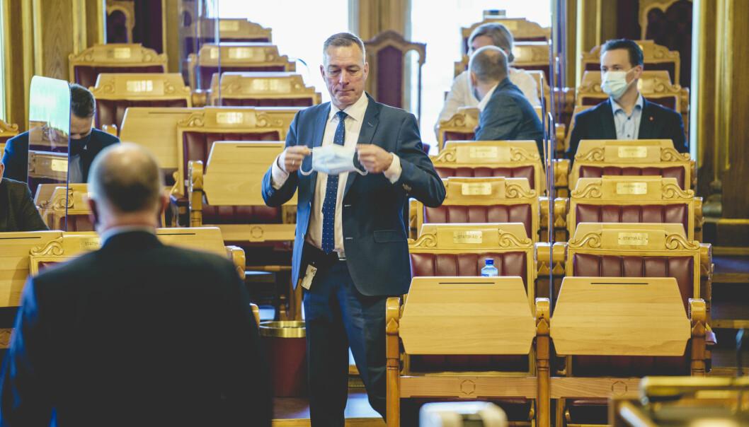 JOBB: Forsvarsminister Frank Bakke-Jensen i Stortinget. Snart blir han fiskeridirektør.