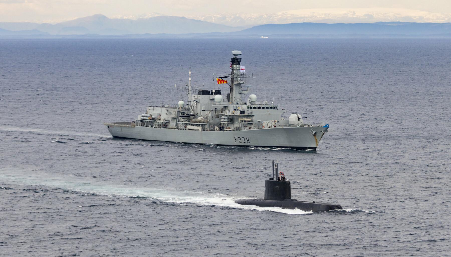 ANTI-UBÅTKRIGFØRING: HMS Northumberland er en stillegående fregatt som er designa for anti-ubåtkrigføring