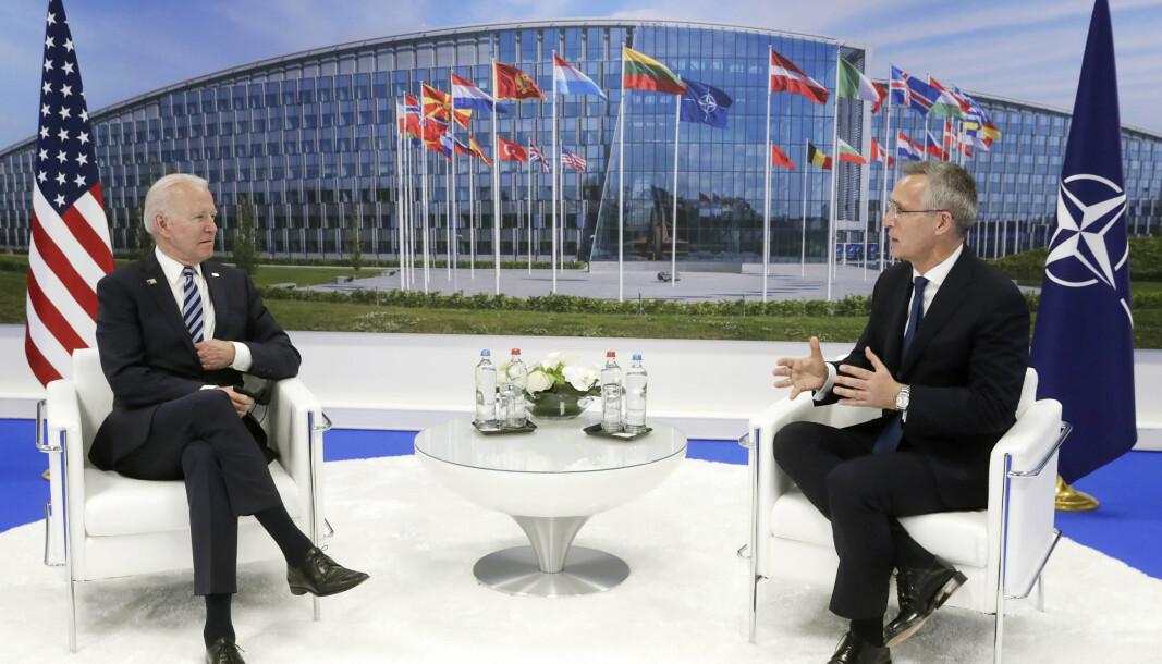 VIKTIG SAMARBEID: USAs president Joe Biden og Nato-sjef Jens Stoltenberg.
