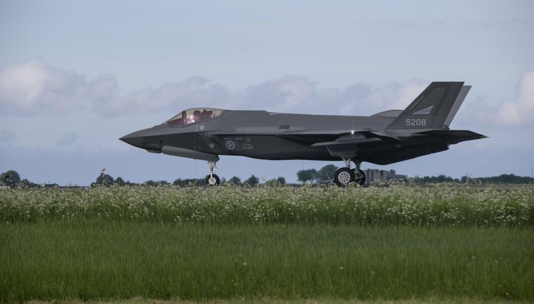 KAMPFLY: Opp til åtte F-35 har deltatt samtidig under øvelse ACE. Her er et av flyene på Ørland flystasjon.